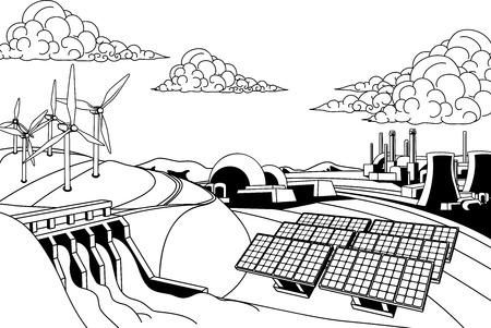 発電エネルギー。再生可能エネルギー源は水力発電ダム、太陽と風のようにも原子力発電、石炭発電所
