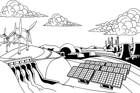 Power energy generation. Renewable sources like hydroelectric dam, solar and wind also nuclear and coal power plants 向量圖像