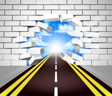 A road breaking through a white brick wall, concept for overcoming adversity or obstacles in life or in business Illustration