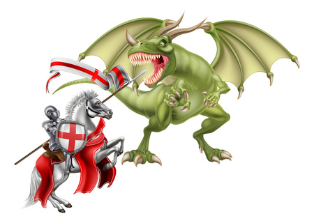 An illustration of St George patron Saint of England fighting the dragon