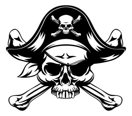 Teschio e ossa incrociate pirata jolly roger che indossa cappello e benda sull'occhio Vettoriali