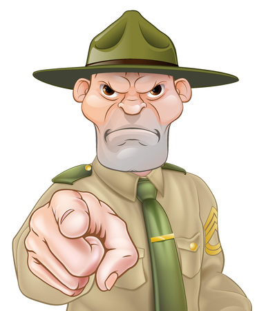 Angry cartoon army boot camp drill sergeant pointing Vectores