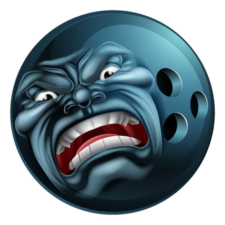 Un moyen en colère regardant de bowling sports de balle de personnage mascotte de bande dessinée