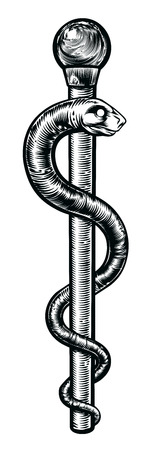 The Rod of Asclepius or the Staff of Asclepius or the asklepian in a vintage woodcut style. Symbol of serpent around a rod associated with healing and medicine.