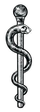 Rod Asklepiosa lub Laska Asklepiosa lub asklepian w stylu vintage drzeworyt. Symbol węża wokół pręta związanej ze zdrowiem i medycyną. Ilustracje wektorowe