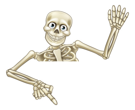 A skeleton Halloween cartoon character peeking over a sign and pointing at it and waving his hand