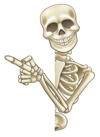 A skeleton cartoon character peeping around the side of a sign and pointing at it