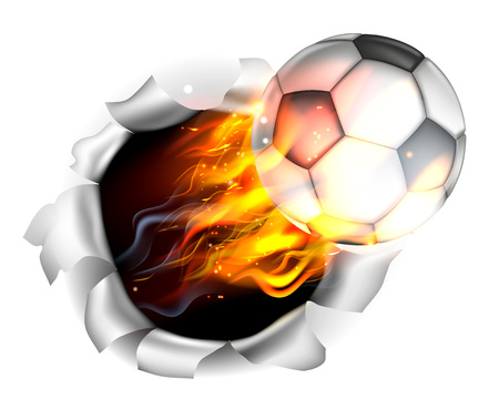 An illustration of a burning flaming Soccer Football ball on fire tearing a hole in the background Vectores