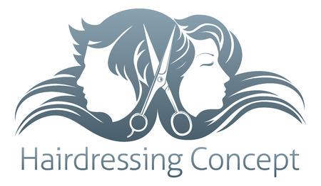 Mężczyzna i kobieta, fryzjerskie nożyczki koncepcja