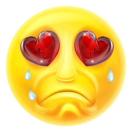 Un personaje de dibujos animados emoticon emoji corazón destrozado y llorando