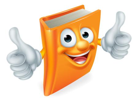 Ein Buch, Comic-Figur Bildung Maskottchen ein Doppelklick Daumen nach oben