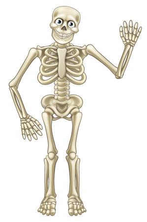 Amigable mascota esqueleto de dibujos animados o carácter de Halloween agitando la mano