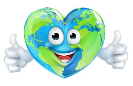 幸福な世界地球日ハート マスコット グローブ漫画のキャラクターを親指をあきらめること  イラスト・ベクター素材