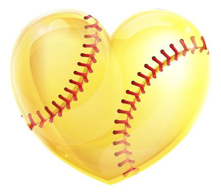 소프트볼 게임의 사랑에 대 한 심장 모양의 노란색 소프트볼 공 개념 일러스트