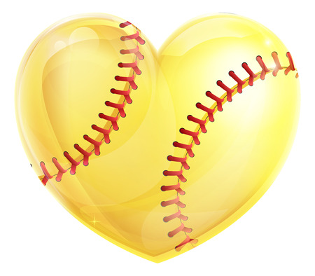Un concepto amarillo pelota de softball en forma de corazón para un amor por el juego de softball