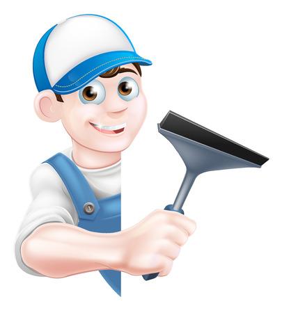 Un pulitore uomo finestra del fumetto in un cappello berretto e tuta blu che tiene uno strumento seccatoio