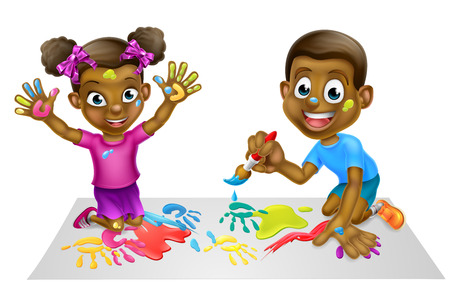Cartoon black boy and girl children playing with paints Illustration