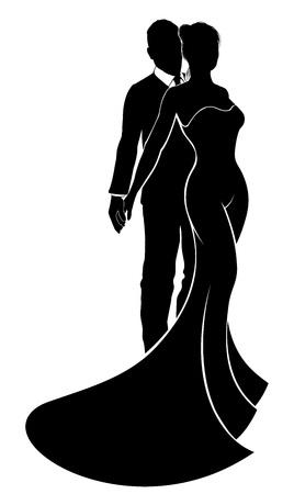 Bride and groom mariage couple dans la silhouette avec la mariée dans une robe de mariée robe de mariée