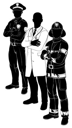 Silhouette der Rettungsdienste Arbeiter Team mit Polizist, Feuerwehrmann und Arzt