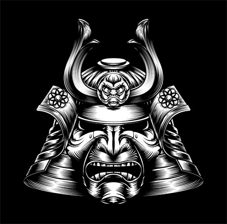 A mean looking Japanese samurai mask and helmet warrior illustration