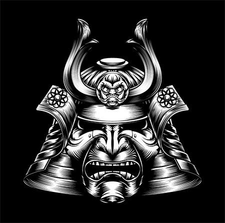 Un medio que mira la máscara del samurai japonés y el casco de la ilustración Warr