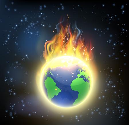 El globo del mundo Tierra de fuego, el concepto de cambio climático, el calentamiento global, u otros desastres