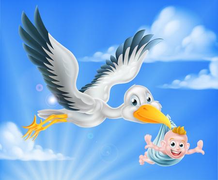 Cartoon stork bird animal character flying through the sky holding a newborn baby. Classic myth of stork bird delivering a new born baby