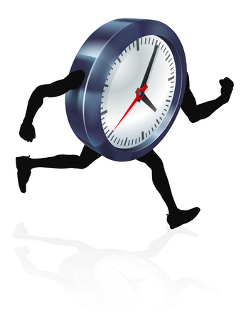 A clock character running, concept for time pressure or running out of time, or running against the clock
