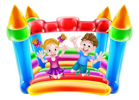 Ein Junge und ein Mädchen springen auf einem federnd Haus oder infaltable Schloss