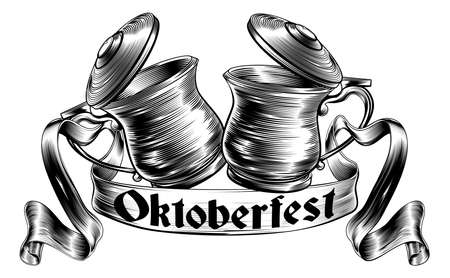 Oktoberfest illustration of a traditional beer stein or tankards chinking together in a prost toast with banner or scroll in a woodcut style