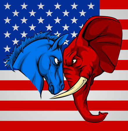 American politics election concept with animal mascots of the democrat and republican political parties. A blue donkey and red elephant staring each other down. Illustration