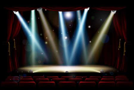 Scena teatru lub teatru i siedzenia publiczności z reflektorami, reflektorami i czerwonymi zasłonami