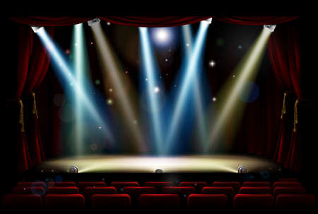 A theatre or theater stage and audience seating with footlights, spotlights and red curtains Vectores