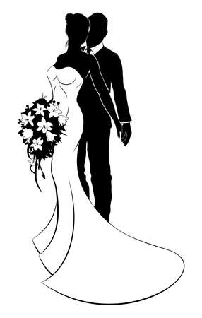 Wedding concept of bride and groom couple in silhouette, the bride in a white bridal dress gown holding a floral wedding bouquet of flowers