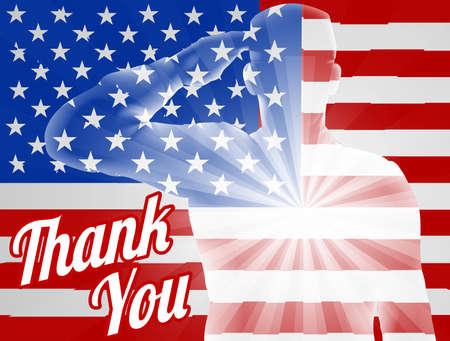 Un soldado saludando con la bandera americana en el fondo con le agradece, el diseño para el Memorial Day o Día de los Veteranos Ilustración de vector