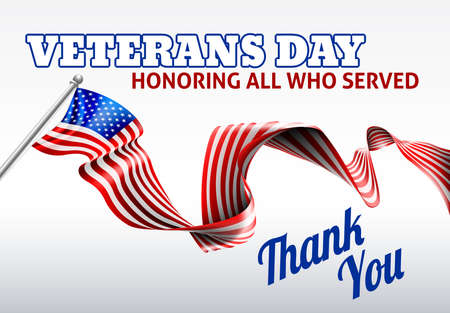 A Veterans Day American flag ribbon background design