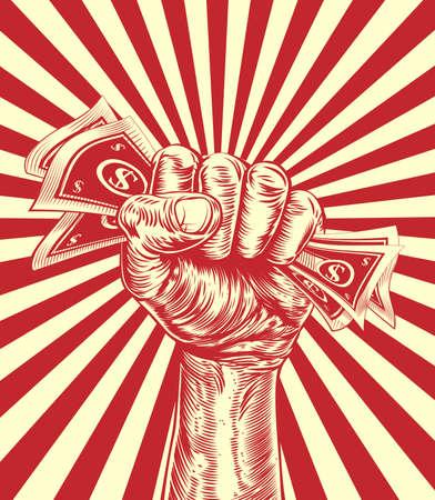 Une main dans un poing tenant argent comptant dans un style de coupe de bois d'affiche de propagande millésime
