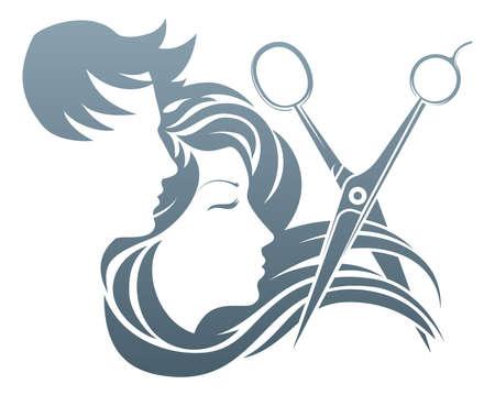 Mężczyzna i kobieta o jej włosy cięte nożyczkami fryzjera. Ilustracje wektorowe