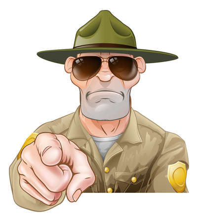 A serious looking cartoon park ranger or forest ranger pointing Stock Illustratie