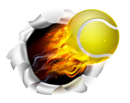 An illustration of a burning flaming tennis ball on fire tearing a hole in the background