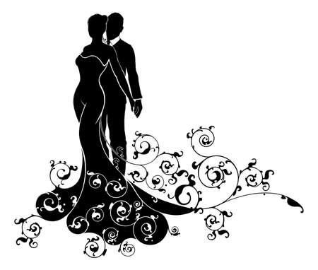 Trouwen paar bruid en bruidegom man en vrouw in silhouet, de bruid in een witte bruidsjurk toga en een abstract bloemenpatroon