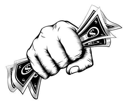 A fist holding cash money dollar bills in a vintage woodcut style