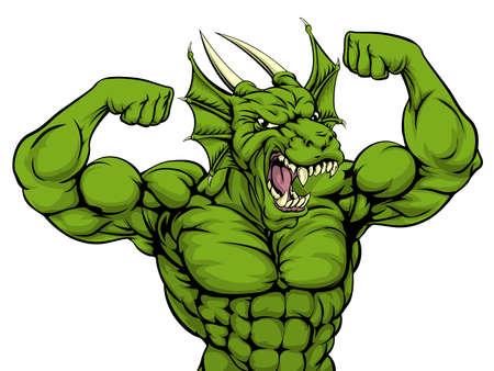 Cartoon dura media forte verde mascotte sport drago mostrando i suoi muscoli del braccio bicept Vettoriali