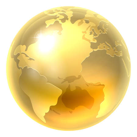 A conceptual illustration of a gold world earth globe icon Vectores