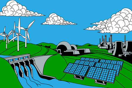 Power or energy generation sources. Includes renewable sources such as hydroelectric dam, solar and wind also nuclear and coal power plants