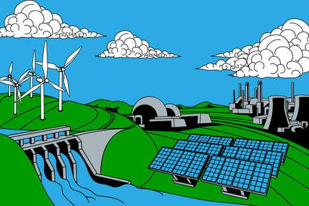 fuentes de generación de potencia o energía. Incluye fuentes renovables como la hidroeléctrica, también las plantas de energía nuclear y el carbón solar y eólica