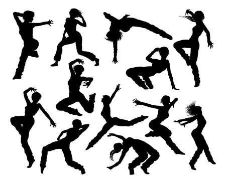 Eine Reihe von Frau Straßentanz Hip-Hop-Tänzer-Silhouetten Vektorgrafik