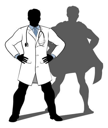 A doctor super hero silhouette conceptual illustration of a doctor standing with his hands on his hips with a shadow revealing him to be a hero or superhero