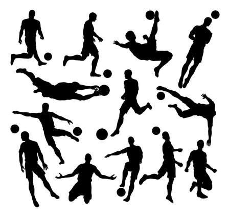 A set of Soccer Football Player Silhouettes in lots of different poses