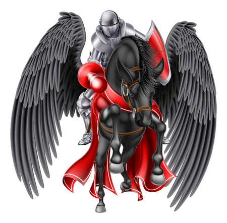 Médiéval chevalier monté sur un légendaire cheval ailé mythologique pegasus noire tenant une lance prêt pour une joute ou de combat